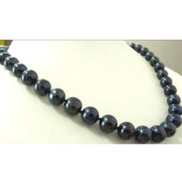 chiusura in oro nero perla Sconti CHARMING 20 inch TRULY ROUND 10-11MM TAHITIAN BLACK PEARL NECKLACE GOLD CLASP