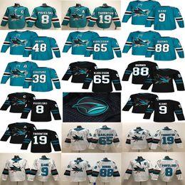 jersey de 48 tubarões Desconto San Jose Tubarões 88 Brent Burns 65 Erik Karlsson 19 Thornton 9 Evander Kane 48 Hertl Branco Verde Camisas De Hóquei