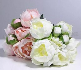 Wholesale Hand Bouquet Rose Pink - Real   Natural Touch PU Peony Buds bouquet wedding bride Holding flower bridal hand hold flowers home decorative ornament MYY