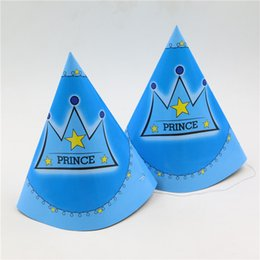 Wholesale Crown Baby Shower Favors - kids boys birthday party decoration paper hat blue crown theme baby shower favors paper cap 10pcs lot