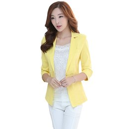 Wholesale Plus Size Office Jackets - Ladies Blazers and Coats Office Wear Three Quarter Small Suit Bodycon Sequins Linen Thin Blazer Jackets Plus Size Women Female
