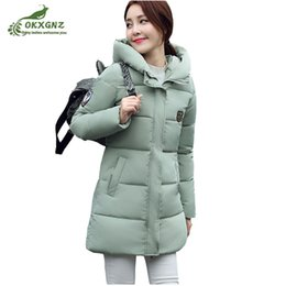 Wholesale Ladies Down Coat Medium - 2017 Women Winter Jacket coat Hooded Solid Color Warm Down jacket Medium Long High-end Large size Thickn Lady Cotton Coat