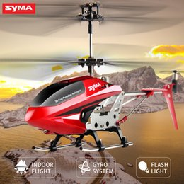Wholesale Boy S Toys - SYMA Official S107W RC Helicopter 3.5CH Indoor Flash light Aluminium Alloy S Strong power Aircraft Toy For Boys Children Gift