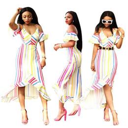 2019 robe papillon rayée Épaule Décolleté En V Sexy Irrégulière Robe D'été De Couleur Rayé À Manches Papillon Court Vestidos Lady Ruffles LONG Robes robe papillon rayée pas cher