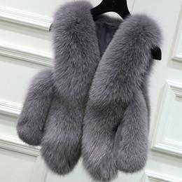 Wholesale Original Fur Coat - -CAF382 Exquisite Faux Fur Women Vest Fake Fur Coats Luxury Faux Fur Gilet Black Gray Pink Original S-XL