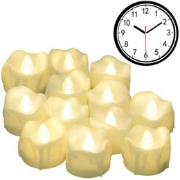 Timer halloween online-Timer Candles, 12pcs Candele senza fiamma a LED Candele tremolanti, 6 ore di accensione e 18 ore di spegnimento per ciclo, perfette per Birthda