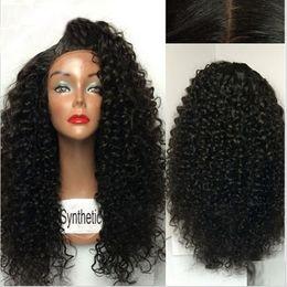 Perucas de preço on-line-Preço barato 150% Densidade Kinky Curly Hair Natural Preto Afro Crespo Encaracolado Perucas sintéticas Peruca dianteira Do Laço Para As Mulheres Negras 1 #