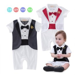 55f40a102fd8 Gentleman Baby Boys Clothes Newborn Rompers Tuxedo Costumes Baby Jumpsuits  Tails Jacket Vest Cotton Crown Boy Outfits Full Dress Bodysuits