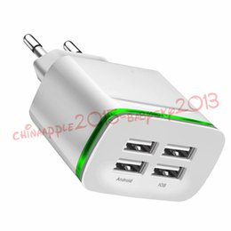 Wholesale Usb 5v 4a - 4 USB Ports 5V 4A USB Charge Adapter Travel Wall Charger Adapter With LED Light Charging For iphone 6 7 8 X Samsung s7 s8 tablet pc