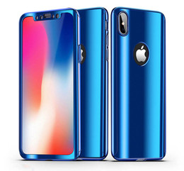 Wholesale plastic protectors - 360 Degree Full Body Electroplating Plating Mirror Hard Case Cover For iPhone X 8 7 Plus Samusng Galaxy S9 S8 Note with Screen Protector
