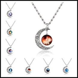Wholesale Pearl Patterns - 11 Styles Moon Shaped Choker -Alloy Resin Hollow Necklaces 1.61inch Starry Sky Pattern Pendants Gemstone Jewelry