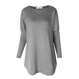 Wholesale Long Tunic Shirt Wholesale - T Shirt For Women Round Neck Pullover Tunic Shirts Long Sleeve Batwing Loose Casual Tops Tee Shirts Blusa WS1401U