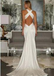 Wholesale simple slimming wedding dresses - C.V Simple Personality Design backless mermaid dresses 2018 vestidos de novia Sexy V neck Slim Waist Plus size mermaid wedding dress W0279