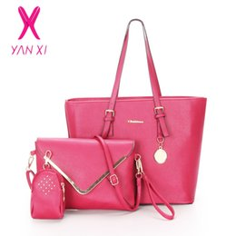 Wholesale Outlet Handbags - YANXI New Factory Outlet Woman Handbag PU Leather Shoulder Bags Lady Handbag Messenger Bag Purse Bag 3 Sets High Quality Tote