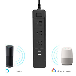 Wholesale surge outlet strip - WiFi Smart Power Outlet Strip Compatible with Alexa Smart Timer Power Socket Surge Protector Remote Control Your Home Device