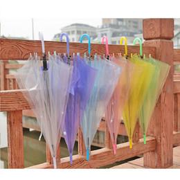 Wholesale Clear Plastic Umbrellas Wholesale - Transparent Clear EVC Umbrella Dance Performance Long Handle Umbrellas Beach Wedding Colorful Umbrella for Men Women Kids