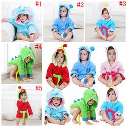 Wholesale kids hooded animal bathrobes - Baby Kids Toddler Animal Cartoon Hooded Bath Towel Cute Bathrobe Wrap Bathing Robe 5 Styles 50pcs OOA4922