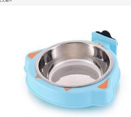 Голубой корм для собак онлайн-drop доставка из нержавеющей стали висит собака кормления чаша кошка Pet клетка питомник чаши щенок птица воды Фидер блюдо синий розовый желтый ANI-100