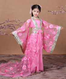 Wholesale Hanfu Clothes - 2017 autumn pink chinese ancient traditional girls hanfu clothing cosplay party dresses tang dynasty costumes for
