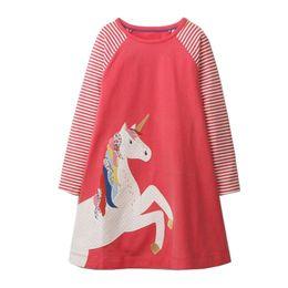 Wholesale Kids Striped - Baby Girls Summer Dress Unicorn Zebra Birds Christmas Dress Princess Animal Appliques Kids 100% Cotton Dresses Children Spring Clothes