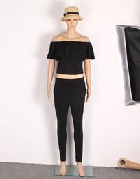 Topos de ajuste do corpo on-line-Mulheres casuais Conjunto de Moda Ruffles Barra Pescoço Longo Calças 2 Peça Treino Tops Calças Moda Corpo Novo Slim Fit Mulheres Terno Feminino