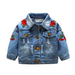 Estilo caliente Ins Moda europea y americana Niños Abrigo Niñas Rosa Bordado Gatos Niños de mezclilla Chaqueta de las muchachas Top desde fabricantes