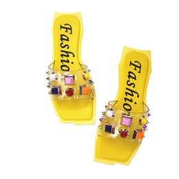 Wholesale hotel cool - Summer new square head candy color rivet peep-toe cool slippers fashionable flat with a word casual lady's slippers