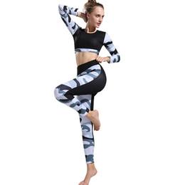 Set d'entraînement élastique en Ligne-Femmes Yoga Camouflage Training Hauts Manches Longues Sport + Longs Leggings Élastiques Mince Ensemble B2Cshop