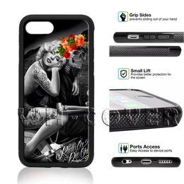 Crâne iphone en Ligne-Marilyn Monroe Statue V3EE Belle femme Super star sexy magnifique fleur floral crâne SkeletoN téléphone cas pour iPhone XS MAX 8 Plus SE