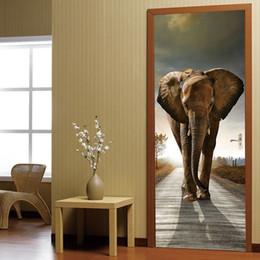 photo sticker wall Coupons - PVC Self-adhesive Elephant 3D Photo Wallpaper Waterproof Wall Paper Home Decor Living Room Bedroom Bathroom Door Mural Sticker