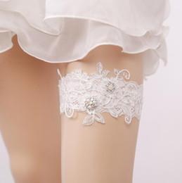 Wholesale Suspender Garter Belts - Sexy Women Bridal Garter Lace Floral Bow Pearl Wedding Party Bride Lingerie Cosplay Leg Garter Belt Suspender for Girl