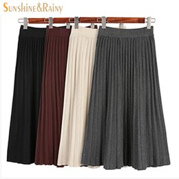 Wholesale Ladies Gray Pencil Skirts - autumn winter women's elegant knitted pleated skirts slim tight hip pencil mid skirt ladies a-line long office pleated skirts