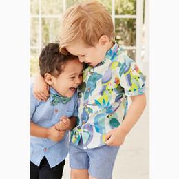 Wholesale Parrot Clothes - NEW Gentleman Kids boy Clothing Sets 100%Cotton Short Sleeve turn down collar parrots print or flower boy shirt + pant boy clothing set