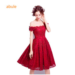 Wholesale Banquet Tea - Evening Dresses Wine Red Lace Embroidery Sleeveless A-line lace up Banquet Elegant Party Formal Prom Dress Robe De Soiree abule