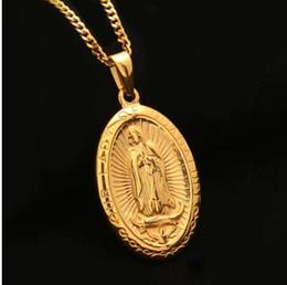 Wholesale catholic virgin mary - Catholic Religious Virgin Mary Necklace Pendant Stainless Steel Gold Color Cross Medallion Women Men Christian Jewelry