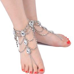 Bracelets de cheville de la mariée bohème argent européen et américain femmes sandales à pied bijoux pied exagéré ornements complet gland perlé chaîne aux pieds nus ? partir de fabricateur