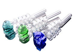 blue coil bong Promo Codes - Colorful skull Helix Glass Pipes Coil Bowls Cute Oil Recycler Bowls for glass Bongs oil dab rigs