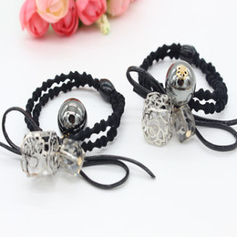Wholesale Charm Ponytail - Charming Elegant Flower Simulated Pearls Elastic Hair Bands For Girls Rope Ponytail Holder Hair Accessories