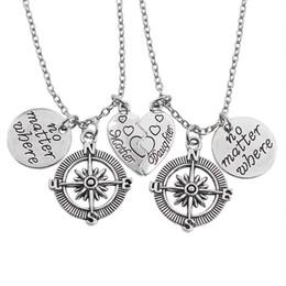 Wholesale vintage compass charm - 2PC Set Broken Heart Mother & Daughter Pendant Necklace No Matter Where Round Necklaces Vintage Hollow Compass Necklace Women