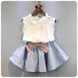 Trajes de faldas coreanas online-dulce 2-8 años ropa de niños para niñas The Bow falda y encaje Top Summer Suit Korean Style ropa de niños Sets Baby Toddler Set