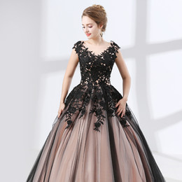 Wholesale Tull Ball - Sweep Strain Ball Gown Evening Dresses 2018 New Sleeveless Lace Applique Crystal Tull Stain Lace Up Formal Prom Gown Party Dress 17-6625