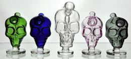 Wholesale Mini Water Hookah - New Mini Skull glass bongs hookah Blunt Bubbler Smoking Bubble Small Water Pipes Small Pipes Hand Pipe bowl hookah