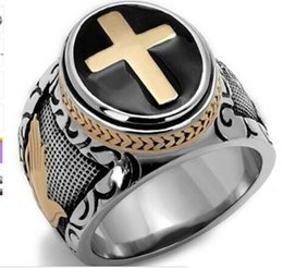 Wholesale Signet Silver - Size 7-15 Vintage Silver Gold Black Two-Tone Holy Cross Signet Ring Prayer Christian Jesus Religious Cocktail Valentine