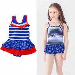 Bandiera americana bikini online-Costume da bagno per bambina Costume da bagno americano Independence Day Costume intero da bagno Costume da bagno con fiocco a righe bandiera Dots 4 Costumi da Bagno 3T-8T