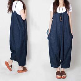 60bd3c669122 New Autumn Women Harem Loose Jeans Jumpsuits Denim Strap Dropped Crotch  Wide Leg Cowboy Cozy Ninth Pants Rompers Large Szie