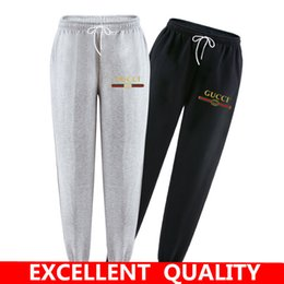 Wholesale Flat Black Clothing - New Fashion Tracksuit Bottoms Mens Pants 100% Cotton Sweatpants Mens Joggers Brand letter Print Pants Gyms Clothing Plus Size S-3XL