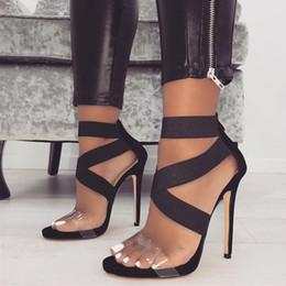 Новый лоскутное резинка крест ремешками высокие каблуки обувь женщин дизайнер обувь размер 35 до 40 от