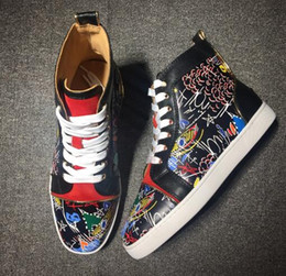 Wholesale Draw Shoes - Best Quality Paris Red Bottom Sneakers Black Genuine Leather High Men's Flat Shoes,Handmade Hand-drawn Graffiti SNEAKERS TRAINERS