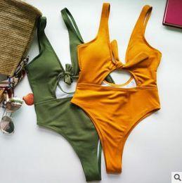 7017a296fe88c New women bikini One Piece Swimsuit Ms. 2018 Explosion Style Solid Color  Cutout Sexy Swimwear Backless bikini