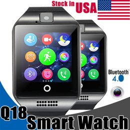 Wholesale Iphone Male Female - Smart Watches Q18 Bluetooth Smartwatch for Apple iPhone IOS Samsung Android Phone with SIM Card Slot Wristbands Smart Watch Stock in USA